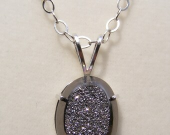Drusy Quartz Sterling Silver Necklace