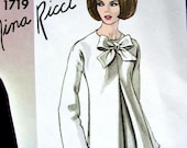 Vintage VOGUE Paris Original Nina Ricci Sewing Pattern 1719 - ELEGANT Evening Dress - size 14 - UNCUT with Label