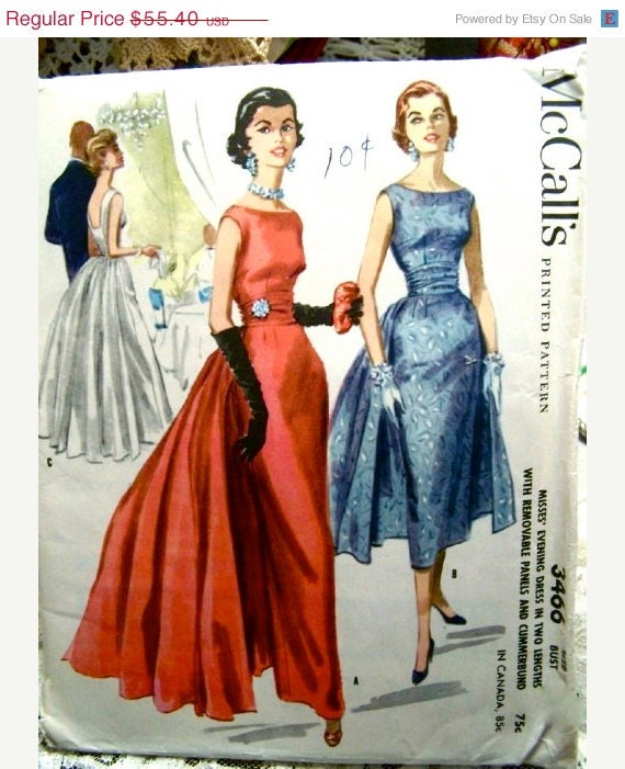 ON SALE Vintage 50's McCalls EVENING Dress Pattern With