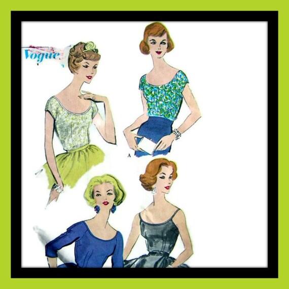 Vintage 50's VOGUE - Low Cut Neckline Blouse Sewing Pattern 9643 - size 10/31