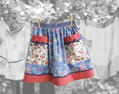 Half Apron made with vintage fabric -- luncheon cloth & floral print percale