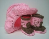 Cowboy Boots and Cowboy Hat, Cowgirl baby shower, Pink and Brown Cowboy set
