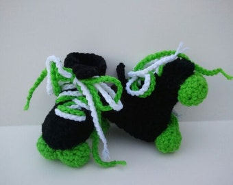 Green Roller Derby Booties, Roller Skates, Roller Skate Booties, Green White and Black