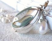 Silver Glass Locket, Teardrop Pearl Locket Necklace, Clear Locket Pendant, Push Present, Sterling Silver Locket, Picture Locket Jewelry