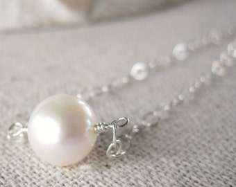 Single Pearl Necklace, White Pearl Necklace, Simple Necklace, Freshwater Pearl Jewelry, Sterling Silver Pearl Necklace, Solitaire Necklace