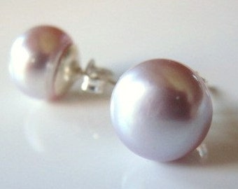 Lavender Pearl Earrings, Light Purple Pearl Earrings, Freshwater Pearl Studs, Silver Pearl Stud Earrings,  Mauve Earrings, Post Earrings