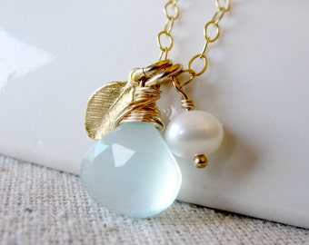 Light Blue Chalcedony Necklace, Gold Leaf Jewelry, Baby Blue Necklace, Gold Leaf Necklace, Pale Blue Stone Jewelry, Gold Leaf Charm Jewelry