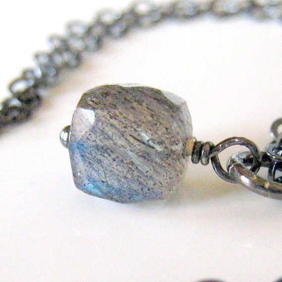 Labradorite Necklace Cube on Oxidized Sterling Silver - Galaxy