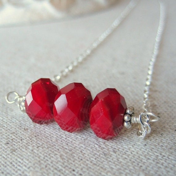 CLEARANCE 50% Off - Red Necklace, Sterling Silver Glass Necklace