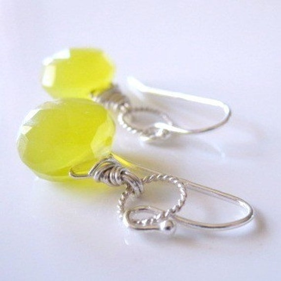 Yellow Chalcedony Earrings on Sterling Silver- Lemon Drops
