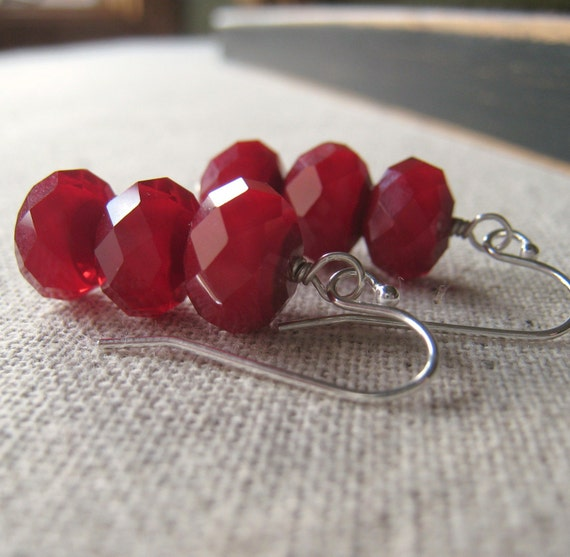 CLEARANCE 50% Off Red Glass Earrings, Sterling Silver Stack Earrings