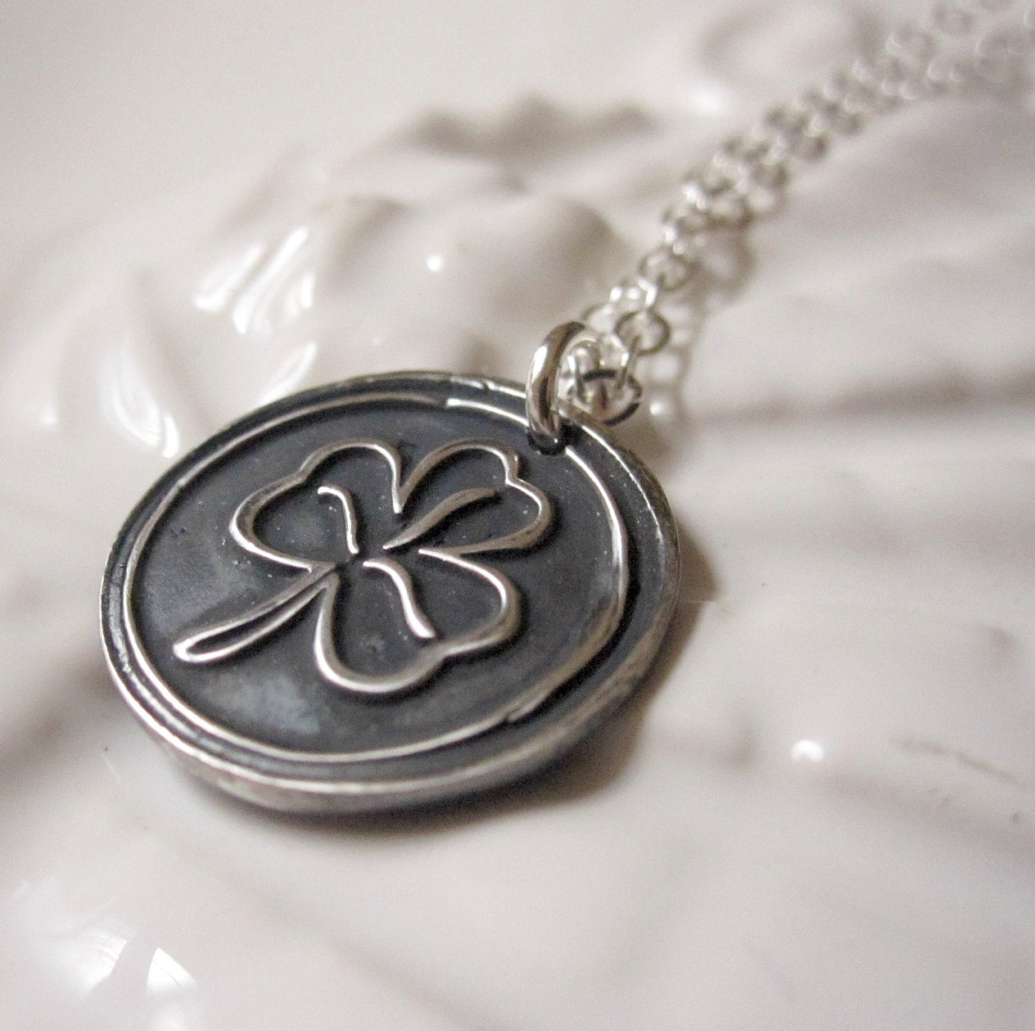Seal Necklace on Wax Seal Pendant  Shamrock Necklace  Fine Silver  Pmc  Sterling Silver