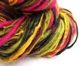 Yarn Handspun Festival Pink Green & Gold Silk Merino Hand Spun Yarn 104yards