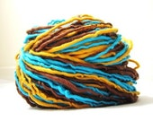 Handspun Retro Colors Blue Turquoise Brown Peach Orange Striped Yarn 153yards