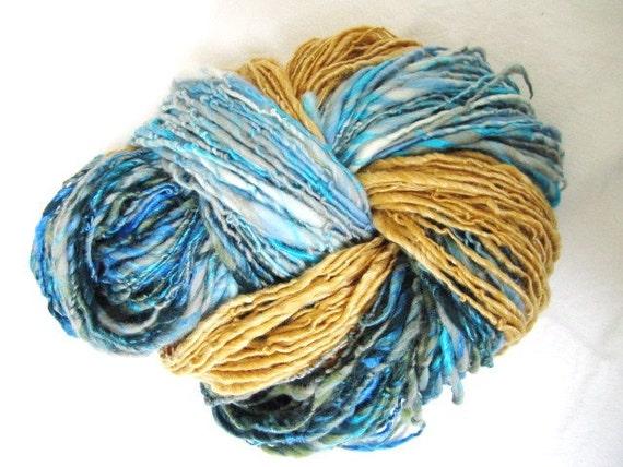 Handspun art yarn, Yellow Sandy Beach, Deep Green Blue Sea, By the Turquoise Pool, Seaside Holiday Bundle 282yards