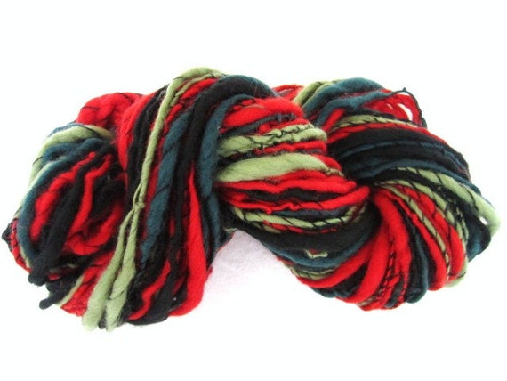 Handspun Corespun Yarn School Boy Green and Red 88yards