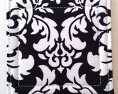 Set of 4 Coasters made w/ Designer fabric Dandy Damask in Black