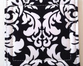 Set of 4 Coasters made w/ Designer fabric Dandy Damask in Black