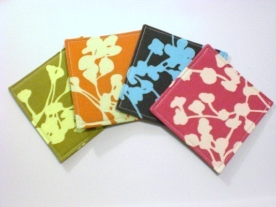 Set of 4 Coasters made w/ Designer Fabric  Coriander one each of Clay Pink Pine and Olive
