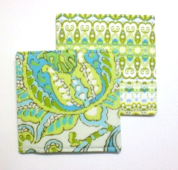 Set of 4 Reversible Coasters made w/ Designer fabric Dancing Paisley and Catalina