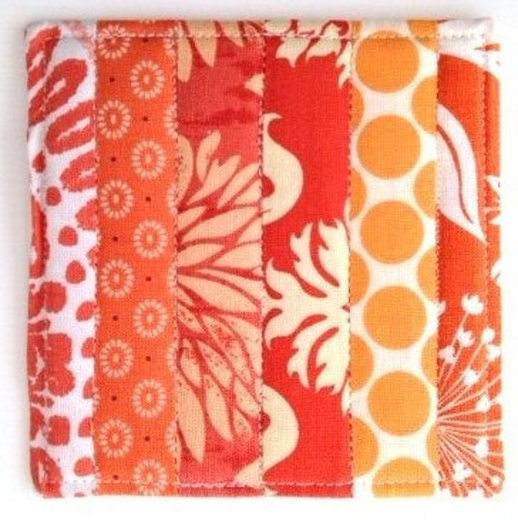 Coasters Quilted Made with Warm and Beautiful Oranges and Tangerine