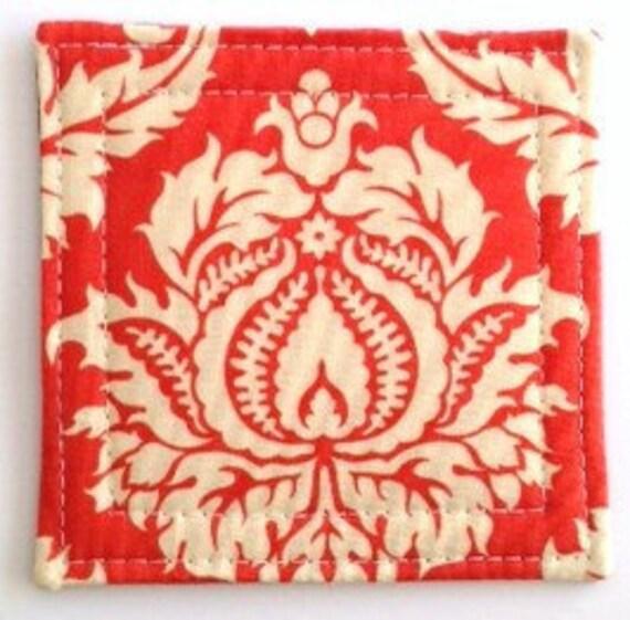 Set of 4 Coasters made w/ Designer fabric Orange Damask