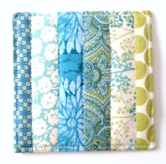 Coasters Quilted Made with Teal Aqua and Greens