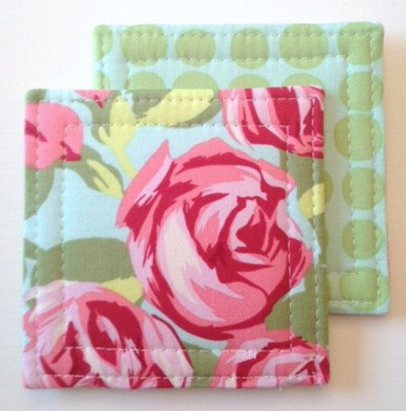 Set of 4 Reversible Coasters made w/ Designer fabric Tumble Roses in Pink and sunspots in Mint