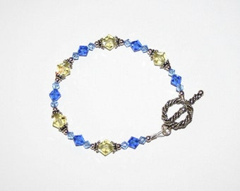Yellow and Blue Swarovski Crystal Bracelet with Sterling Silver findings