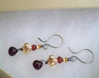 Art Nouveau II - Natural Gemstone - Mixed Metal Earrings