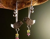 Young bird with tourmalines Sterling Silver Earrings Handmade Metalwork Original Unique
