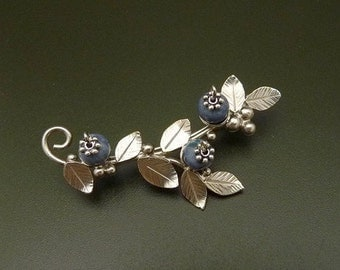 Blueberry brooch Sterling Silver  Handmade Metalwork