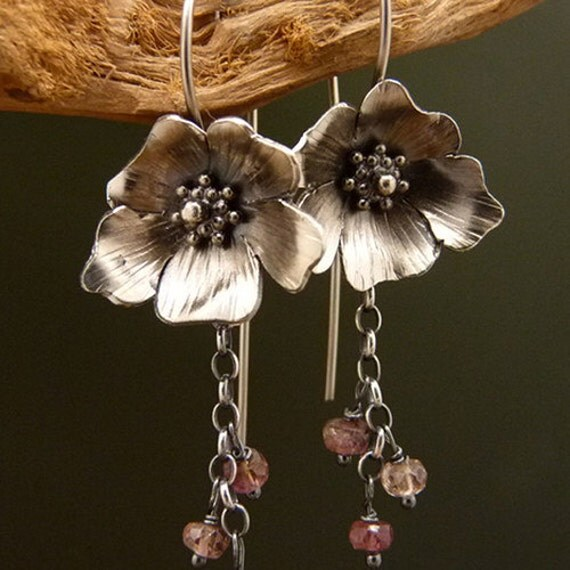 Roses Louise May Alcott Sterling Silver Earrings Handmade Metalwork