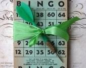 16 Vintage Green Bingo Cards with Dart