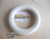 6 vintage white curtain rings