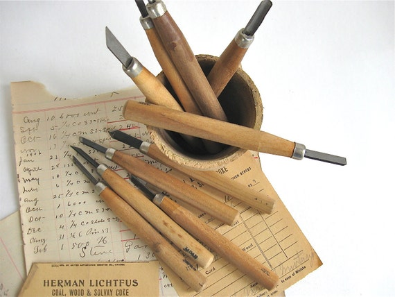Vintage wood carving tools linoleum by