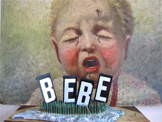 vintage metal sign letters bebe, baby, new baby, french baby,