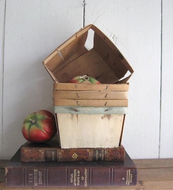 5 vintage berry baskets farmers market