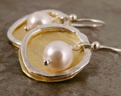 Earrings Brass Hammered Silver Pearl Circle Mixed Metal Gold Jewellery Gift for Her Under 35