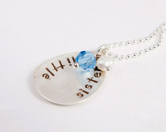 Personalized Sterling Silver Necklace Little Sister Hand Stamped  Family Pendant Gifts for Her Under 50