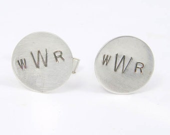 Sterling Silver Cuff Links Personalized Monogram Initials Wedding Anniversary Gift for Dude Best Man Father Dad