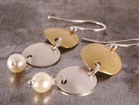 Long Metal Earrings, Brass - Sterling - Pearl Earrings, Geometric Jewelry, Dangle Pearl Earrings Under 35