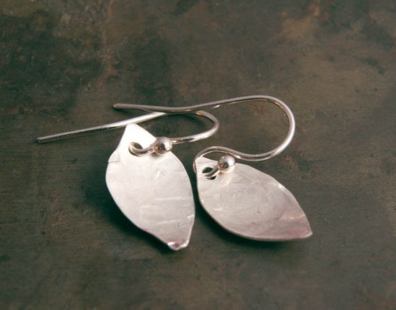 Sterling Leaf Earrings,  Hammered Metal Silver Dangles,  Jewelry Gifts for Her Under 20