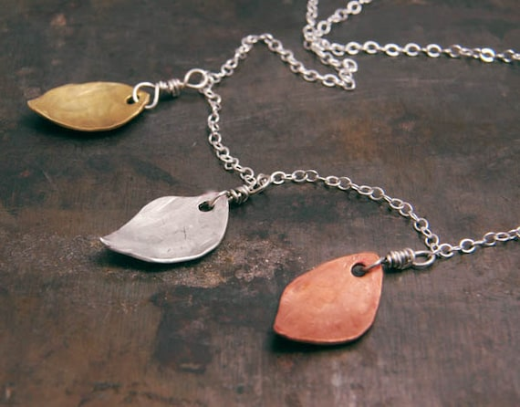 Necklace Copper Brass Sterling Silver Leaf  Hammered Metal Eco-Friendly Handmade Jewelry  Gifts for Her Under 35