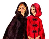Vintage 1970s Butterick 5741 Storybook Hooded Cape Sewing Pattern--Size Small