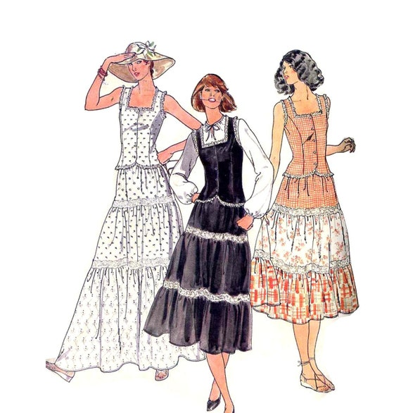 Tiered Skirt and Square Neck Princess Camisole Top Vintage 80's Sewing Pattern Butterick 6053--Bust 32.5