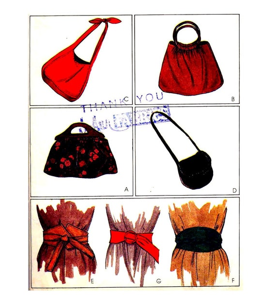 Uncut Vintage 1970s Hand Bags, Shoulder Bags and Belts Pattern--McCall's 6969