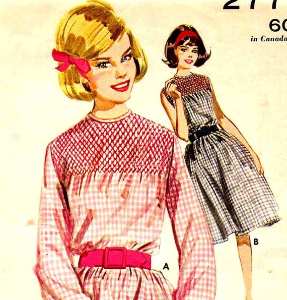 Vintage 1960s Smocked Gingham Day Dress with Gathered Skirt Butterick 2771 Sewing Pattern--Bust 32