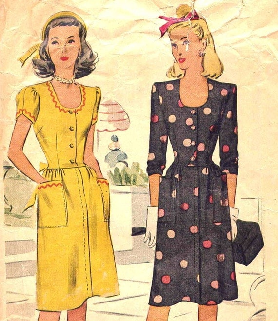 Vintage 1940s Nancy Drew Day Dress with Sleeve Options Slightly Drop Waist McCall's 6116 Sewing Pattern--Junior Miss Bust 34
