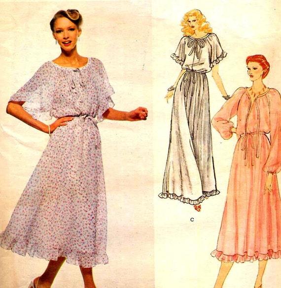 Vintage 1970s Vogue Albert Nipon Angel Sleeve Dress American Designer Sewing Pattern Vogue 2125--Bust 34